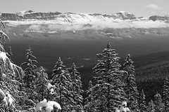 Above the Clouds (JB by the Sea) Tags: blackandwhite bw snow canada rockies alberta banff rockymountains lakelouise banffnationalpark canadianrockies september2014