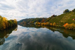 At the river (FocusPocus Photography) Tags: neckar fluss river stuttgart badenwuerttemberg herbst autumn fall wolken clouds canoe kanu landschaft landscape