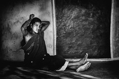 Combing Hair. (Padmanabhan Rangarajan) Tags: araku valley india rural woman combing hair hut tribal portraiture