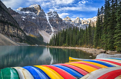 Colorful Canoes @ Moraine Lake, Banff National Park, Alberta, Canada (Feng Wei Photography) Tags: banffnationalpark colorful scenery beautiful lakemoraine scenics boat unesco canada landscape tourism horizontal alberta ca traveldestinations tranquility vacations northamerica rockymountains colorimage lake idyllic tranquilscene canadianrockymountains gettingawayfromitall travel forest valleyofthetenpeaks canadianrockies canoe