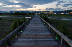 Hrai Bridge () , Shimada, Japan (IHNIWIMD) Tags: shimadashi shizuokaken japan jp shizuoka horai bridge wooden longest world record guiness book water river city clouds wood lights green