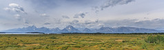 Teton Range from Jackson Lake Lodge (gunigantip) Tags: moran wyoming unitedstates gtnp grandtetonnationalpark grandtetons tetons nationalpark jacksonlakelodge lodge willowflats mtmoran panorama pano outdoor serene scenic mountains landscape sky
