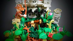 Eye on the Prize - (Trap) (Roy of Floremheim) Tags: lego moc creation build aztec ancient ruins jungle amazon forestry landscape growth grass treasure indianajones vignette rock plants trap absbuilderchallenge round16 royoffloremheim