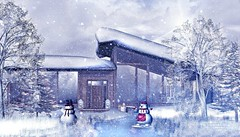 Winter Getaway (Alexa Maravilla/Spunknbrains) Tags: daddesigns shinyshabby panavia draftsman dreamscapesartgallery whimsical tia happymood turnips secondlife outdoors winter cabin snow pinetrees