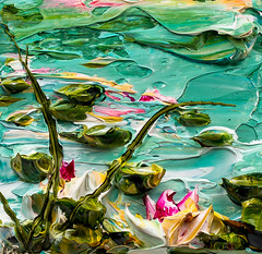 JUSTIN GAFFREY-WS12X12-2016-214 (Justin Gaffrey) Tags: waterscape water lillies waterlillies lilliepads reeds nature lake art artist painting acrylicpaint blue green justingaffrey 30a sowal florida