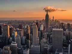 Manhattan from Top of the Rocks- Rockfeller (roberto emme) Tags: nikkor 35mm df empirestatebuilding empire panorama street travel subset newyork tramonto città vista nikon beatiful view skyline sky city nyc manhattanny