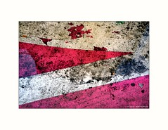 Puddled. Lisbon. (Rushie.) Tags: puddle red comrade rushie laurarushrivoire street roadmarkings abstract abstractphotography minimalist