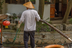 boatman (stevefge) Tags: china shanghai zhujiaujiau watertown people candid men street reflectyourworld canal