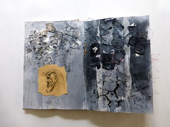 journal page (Ines Seidel) Tags: journal drawing patterns experimental zeichnen muster experimentell ear ohr cracks risse