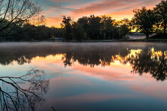 Pastel Morning (tquist24) Tags: bristol congdonpark hdr indiana nikon nikond5300 outdoor stjosephriver clouds geotagged longexposure morning park reflection reflections river sky sunrise tree trees unitedstates