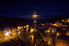 Supermoon at Staithes. (paul downing) Tags: pauldowning pd1001 pauldowningphotography nikon d7200 supermoon sunset moon staithes northyorkshire northyorkshiremoors harbour nightshot highiso hitech gnd 12 filters