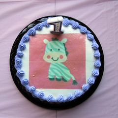 Annabelle's Personal First Birthday Cake (genesee_metcalfs) Tags: home party birthday granddaughter cake zebra candle one