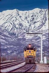 Eastbound Peterson, UT April 14, 1986 (blair.kooistra) Tags: unionpacific gp30 parkcity webercanyon ogden echo utah utahrailroads branchlinerailroads
