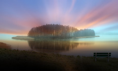 Island. (augustynbatko) Tags: island lake nature water sky clouds bench landscape view