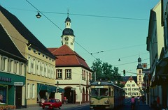 OEG tram 97 at Seckenheim Rathaus in 1981 (Tom Burnham) Tags: germany deutschland seckenheim strassenbahn tram oeg rathaus 1980s