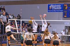 IMG_8117 (SJH Foto) Tags: girls volleyball high school york delone catholic team teen teenager net battle spike block action shot jump midair