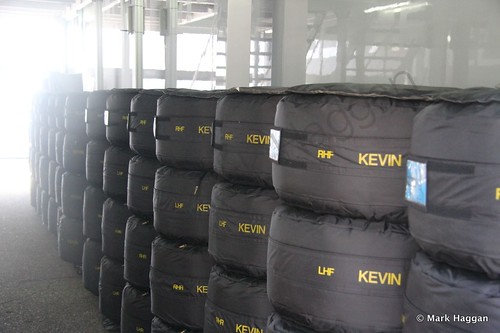 Kevin Magnussen's tyres in the paddock at the 2014 German Grand Prix