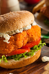 Homemade Buffalo Chicken Sandwich (brent.hofacker) Tags: blue food hot chicken vegetables cheese turkey bread healthy buffalo sauce tomatoes tasty sandwich dressing meat delicious american barbecue poultry peppers spicy fried celery bluecheese jalapeno chickensandwich buffalochickensandwich buffalochicken