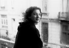 my friend through the window, it was a rainy day, Bruxelles (asketoner) Tags: street portrait window wet girl rain drops belgium bruxelles through raining buiding