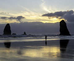 Solitude at Sunset (stephencurtin) Tags: light sunset color beach oregon last nikon solitude day alone photograph cannon end thechallengefactory