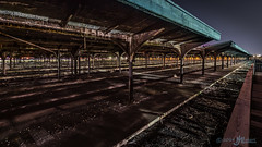 Train Station for Immigrants (awaiting immigration reform) (JM Lobert) Tags: longexposure nightphotography abandoned reflections newjersey lowlight jerseycity waterfront manhattan trainstation
