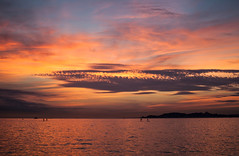 Sunset on the beach (Cyrielle Beaubois) Tags: sunset summer sky sun holiday france color silhouette clouds marseille paddle 2014 canonef70200mmf40lusm canoneos5dmarkii cyriellebeaubois pwpartlycloudy