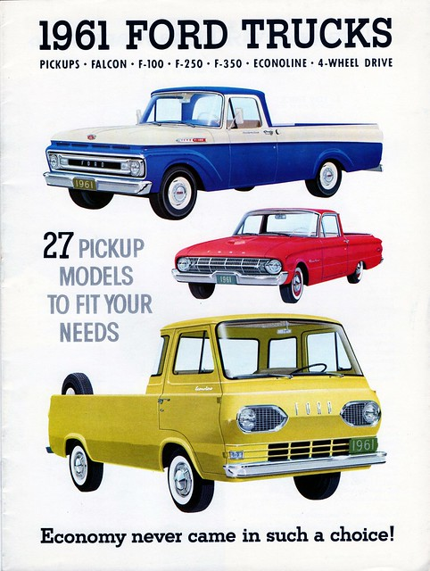 ford wheel drive 4x4 4 pickup f100 trucks brochure 1961 f350 econoline f250