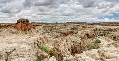 Badlands, SD - August 2014 - 18 - HDR-001 (mastrfshrmn) Tags: road blue red summer sky orange storm mountains green fall yellow rock clouds canon dessert rainbow colorful desert dunes august hills badlands prairie peaks plains formations 2014 70d