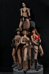 Bikini Contest Group Shot (edwicks_toybox) Tags: shadow ninja redhead bikini sword fedora ttl cowgirl brunette shotgun revolver cowboyhat takara aska glock cowboyboots tommygun multicam kunoichi booniehat