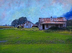 """Tangled Up in Blue"": Northern Gates County, North Carolina (EdgecombePlanter) Tags: blue light shadow texture architecture clouds rural nc gates south northcarolina southern oldhouse textured rurallandscape tenanthouse"