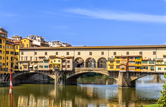 Ponte Vecchio Florence, Italy (dolorspi) Tags: above street old city travel bridge blue sunset sky italy panorama house reflection building art history tourism water skyline architecture river landscape town florence italian ancient europe day cityscape arch view traditional famous sightseeing scenic culture landmark tourist panoramic medieval ponte clear tuscany destination historical firenze arno toscana renaissance vecchio