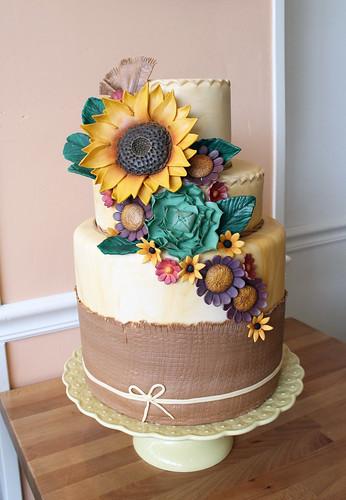 Sunflower Fall Flowers and Burlap Wedding Cake