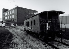 """Landlocked"" (D A Baker) Tags: minneapolis northfield railroad red caboose fort ft wayne indiana international harvester ih ihc abandoned decay southern fortwayne danielbaker daniel baker dan da danielabaker"
