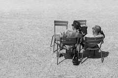 Love is all we need (jpjouve) Tags: street blackandwhite bw woman white man black paris france monochrome bag photography couple europe seat streetphotography seating seated