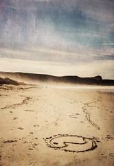 Yin-yang (borealnz) Tags: newzealand beach sign drawing arc nz otago yinyang victorybeach