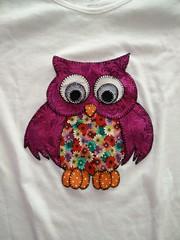 Owl T-shirt for my aunt // Camiseta con búho para mi tía (-nickless-) Tags: handmade tshirt owl patchwork camiseta búho festón
