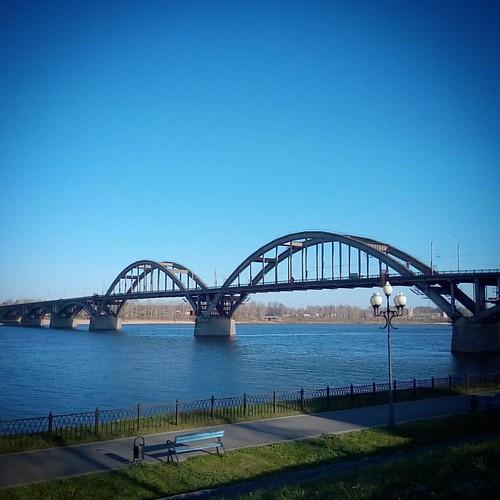 Рыбинск, мост #sky #autumn #river #bridge