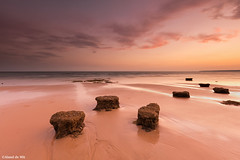 Gale sunset (aland67) Tags: landscape seascape sunset clouds goldenhour beach atlanticocean rocks longexposure sand refelections leend09hard alanddewit algarve praia de gale portugal outdoor outgoingtide waves