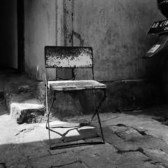 Chair and Light (Purple Field) Tags: rolleiflex t tlr carl zeiss tessar 75mm f35 ilford delta iso400 bw monochrome film analog 6x6 120 medium square yogyakarta indonesia street alley walking chair                    canoscan8800f stphotographia