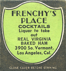 Frenchy's Place (jericl cat) Tags: matches matchbook match illustration vintage losangeles paper ephemera frenchys place restaurant dining cocktail vermont crest shield green