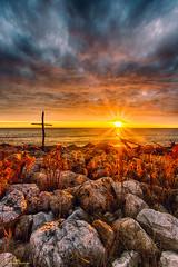 S U N R I S E (gurungbijaya88) Tags: sunrise landscape nature sun clouds beach lake lakemichigan flickr fineart rocks goldenhour hdr
