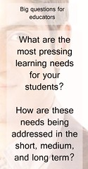 Educational Postcard: Two big questions for educators... (Ken Whytock) Tags: pressing needs learningneeds students educators questions leadership