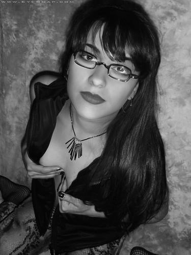 Destinybw (EYEsnap_Photography) Tags: destiny blackandwhite brunette portrait glasses eyewear braless cleavage