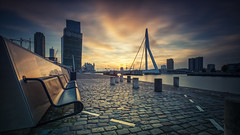 Sit down and Relax (Lefers.) Tags: erasmusbrug rotterdam haven nederland maas brug bridge aida prima holland amerika lijn zwaan swan sunset nightphotography longexposure le fuji xt1 fujinon 1024mm ship dock clouds cityscape stadsgezicht raw lee filter hdr zuidholland