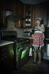 Day 3549 (evaxebra) Tags: 365days 365 halloween haunted haunters green light alien monster pregnant pregnancy maternity scary frightened oven kitchen stove glow apron retro 33daysofhalloween 33days october octoberphotochallenge opc2016 opc slippers