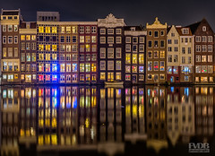 Old Amsterdam by Night (Frans van der Boom) Tags: amsterdam netherlands holland reflections houses lights water city canal nikon fvdb d5200 decisive moment creative flickr flickriver explore best camera prime lens eyed eye scene photography greatphotographers greaterphotographers
