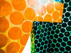 The photo app Photoshop Express brightens this modern polka dot sculpture in Bilbao, Spain (elizabatz.jensen) Tags: modern abstract polkadot sculpture bilbao spain photoapp bright geometric