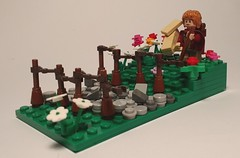I Am Going On An Adventure! (bricksteg) Tags: hobbit lordoftherings tolkien lego castle medieval cobbles countryside shire