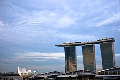 Marina Bay sky (jeremyhughes) Tags: singapore sky marinabay marinabaysands architecture weather city cityscape calm clouds hotel nikon d40 sigma 30mm sigma30mmf14exdchsm view spectacle outlook panorama