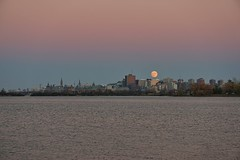 Ottawa skyline and perigee moon (beyondhue) Tags: moonrise ottawa river skyline supermoon perigee beyondhue ontario canada parliament canadian